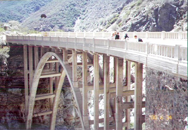 Hikers Crossing the Bridge
