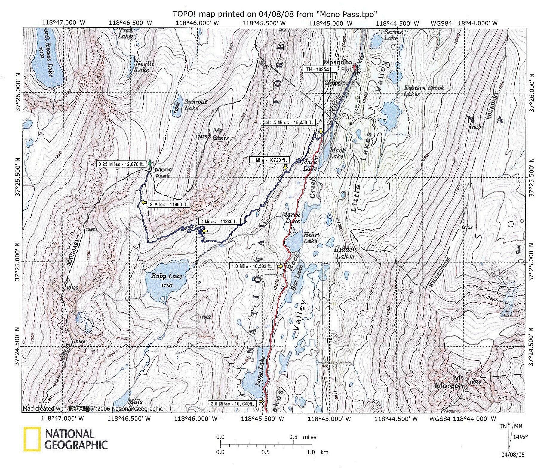 Rock Creek Lake Mono Pass Trail - Print topo maps